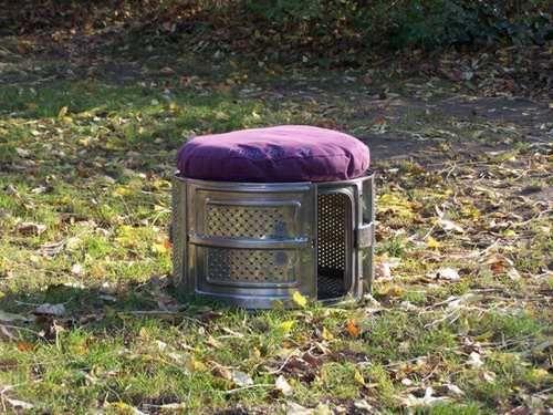 alte waschmaschinentrommel als gartenhocker garten pinterest alter hocker und aus alt. Black Bedroom Furniture Sets. Home Design Ideas