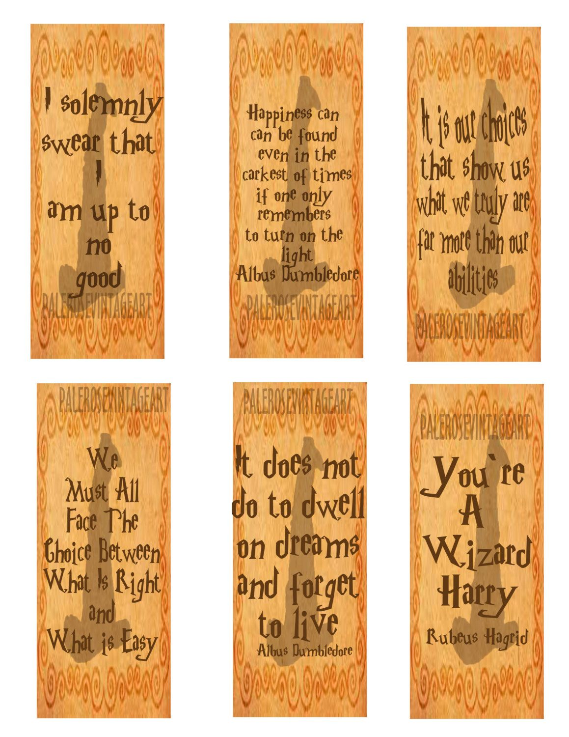 Printable Digital Download Harry Potter Bookmarks Reading Fun Love Scrapbooking T Instant