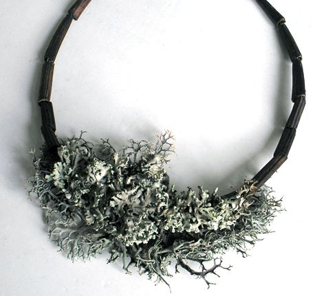 CECA GEORGIEVA - Handcrafted necklace from gathered native lichen, dried pods, and recycled wire