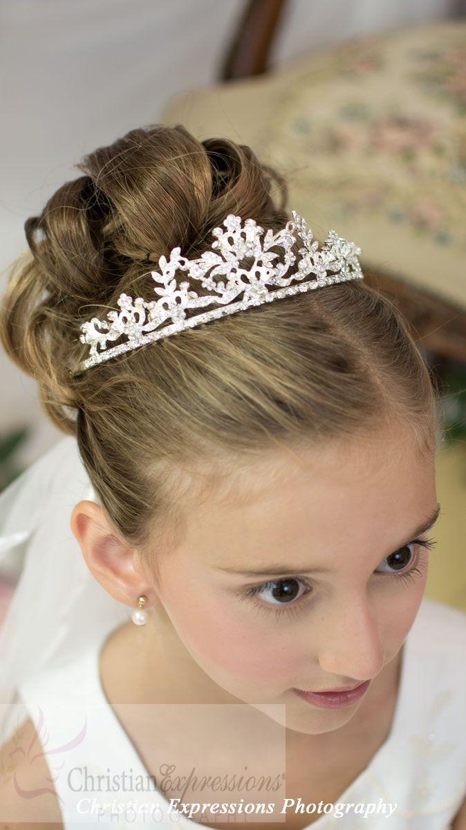 De última generación peinados para niñas comunion Fotos de cortes de pelo tendencias - First Communion Tiaras-T903   Peinados para niñas ...