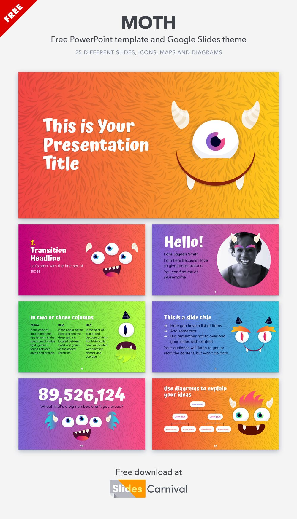 Colorful Monsters Free Powerpoint Template Google Slides Theme Presentation Template Free Templates Powerpoint Templates