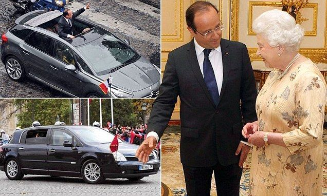 Hollande orders old Renault out of storage to fit the Queen's hats #queenshats