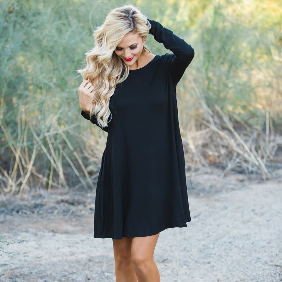 Long Sleeve T Shirt Dress With Pockets Long Sleeve Tshirt Dress Long Sleeve Swing Dress Black Long Sleeve Tshirt [ 1200 x 1200 Pixel ]