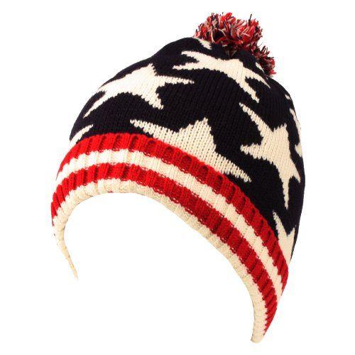 Winter 2ply Stars Striped Thick Knit USA Flag Beanie Skull Ski Hat Cap Navy Red