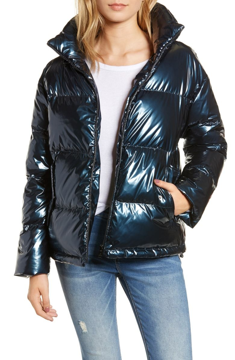 Bernardo Metallic Puffer Coat Nordstrom Puffer Coat Walking Coats Coats For Women [ 1196 x 780 Pixel ]
