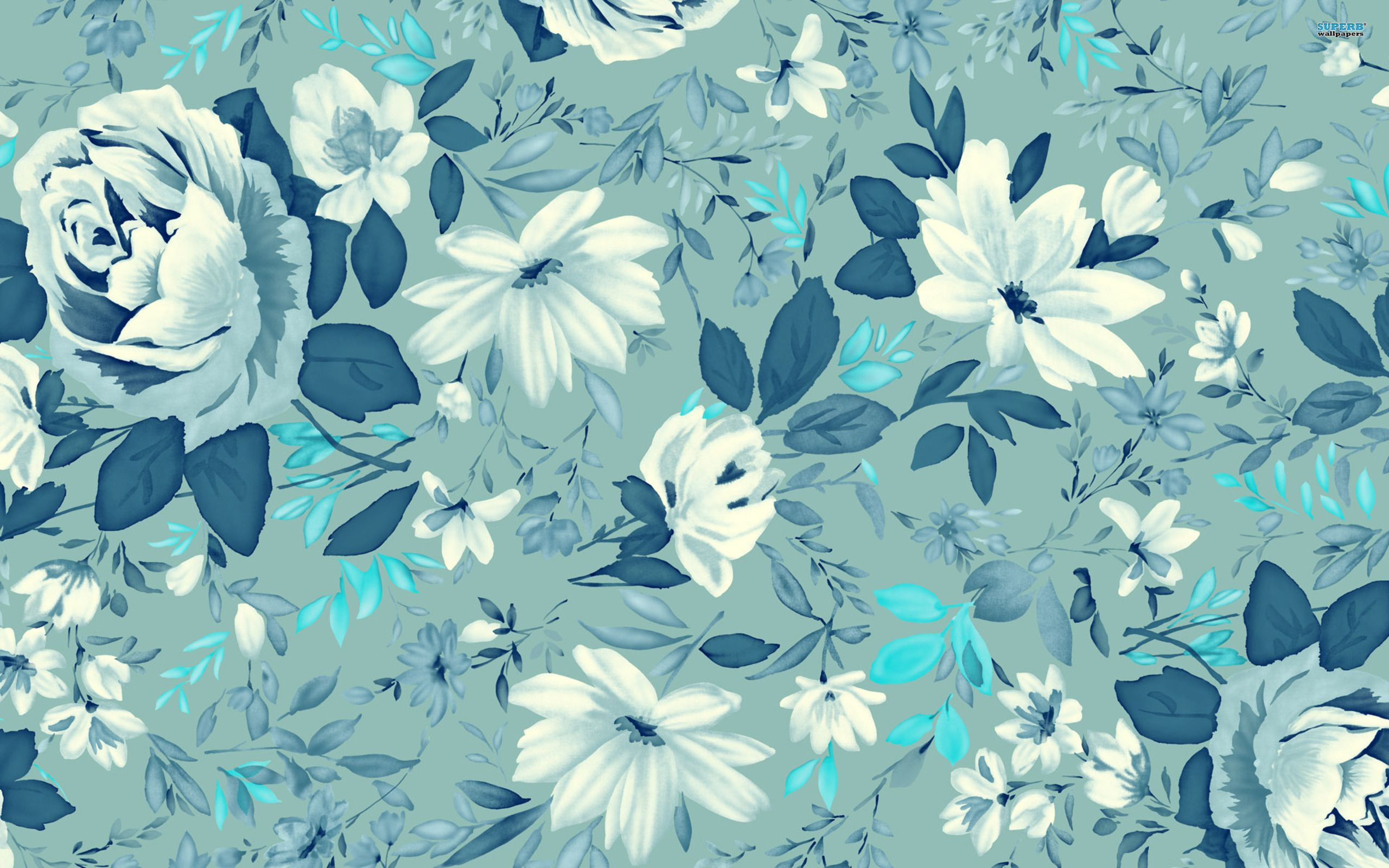 ಌ.blue Flowers Design.ಌ wallpaper free Floral pattern