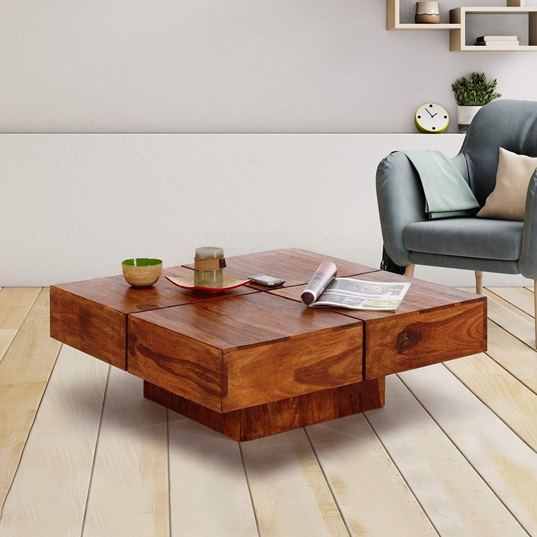 Keon Furniture Sheesham Wood Square Coffee Table For Living Room Teak Finish Living Room Mainside Tables For Living In 2020 Coffee Table Square Coffee Table Furniture