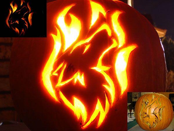 Wolf pumpkin carving design idea