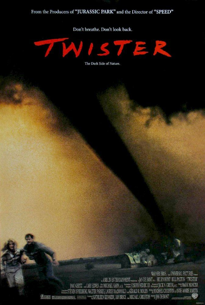 Directed by Jan de Bont. With Helen Hunt, Bill Paxton, Cary Elwes, Jami Gertz. Bill and Jo Harding, advanced storm chasers on the brink of divorce, must join together to create an advanced weather alert system by putting themselves in the cross-hairs of extremely violent tornadoes.