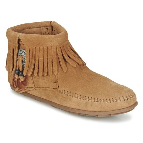 Minnetonka - CONCHO FEATHER SIDE ZIP BOOT. Side Zip BootsShoes WomenBrown  LeatherTaupeFeathersWide ...