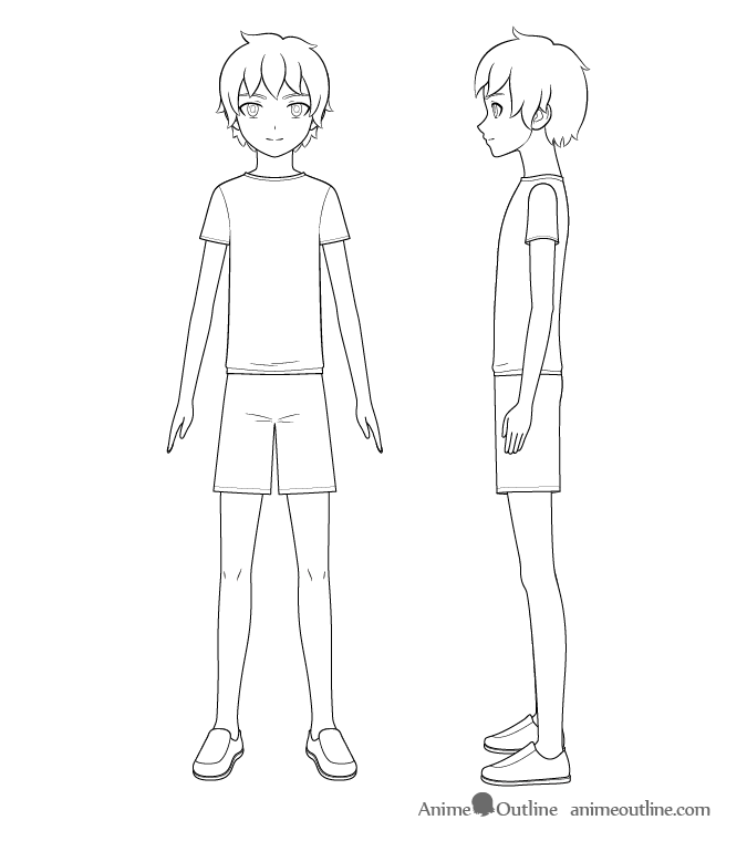 How To Draw An Anime Boy Full Body Step By Step Animeoutline Anime Boy Anime Guys Shirtless Guy Drawing