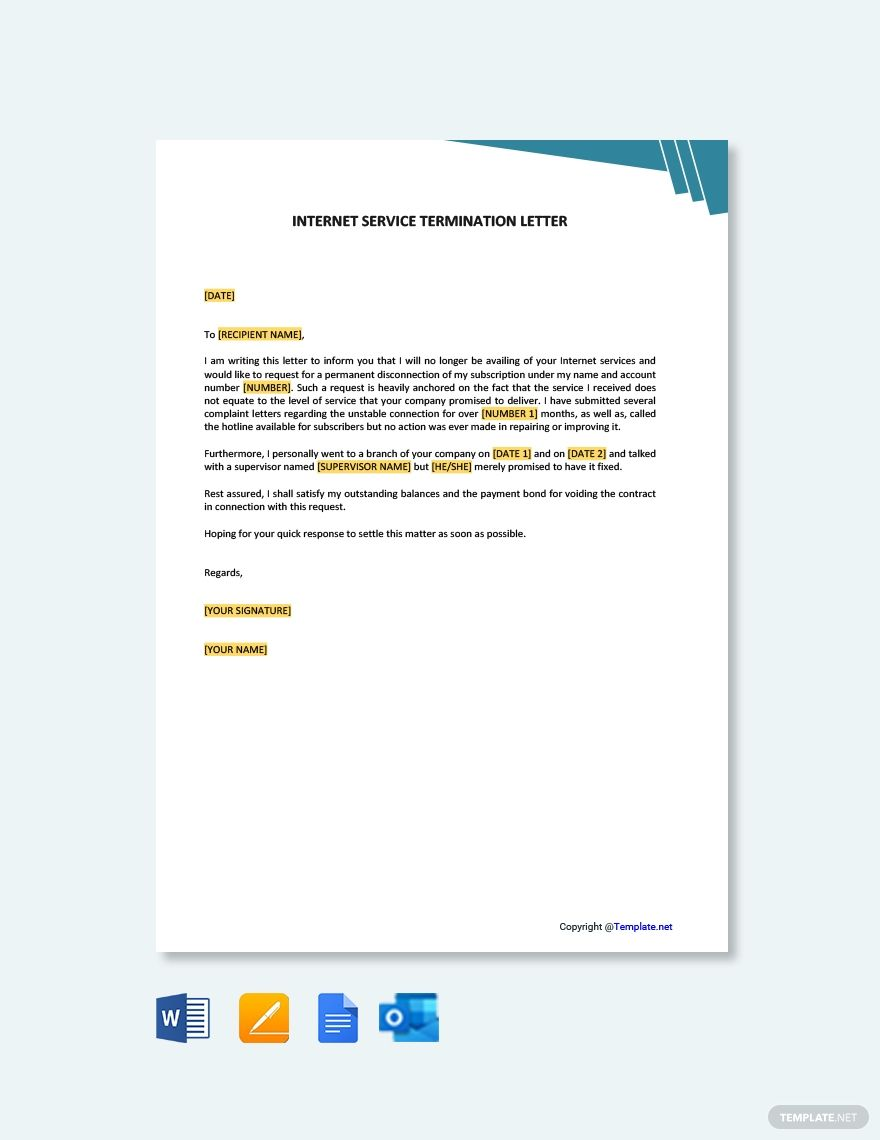 Internet Service Termination Letter Template Free Pdf Word Apple Pages Google Docs Outlook Letter Templates Free Lettering Letter Templates