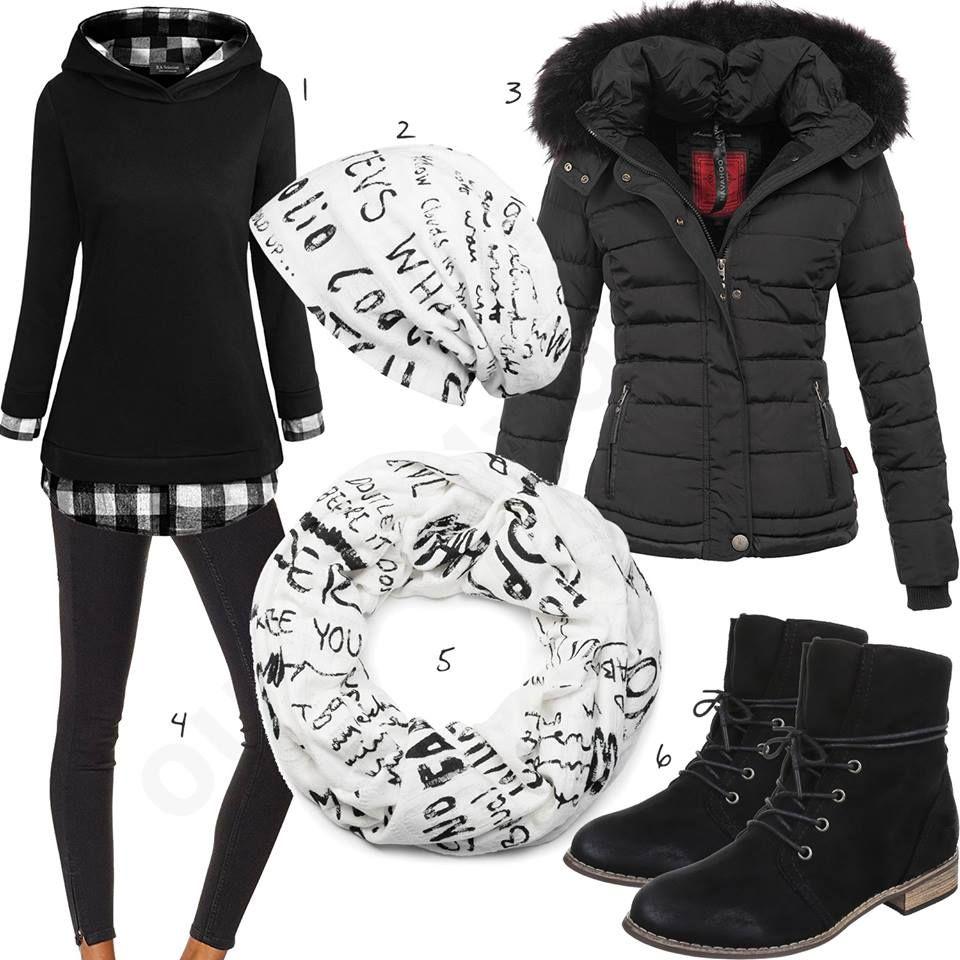 10 Winter Damenoutfits mit Kleid, Jacke, Mütze und Schal