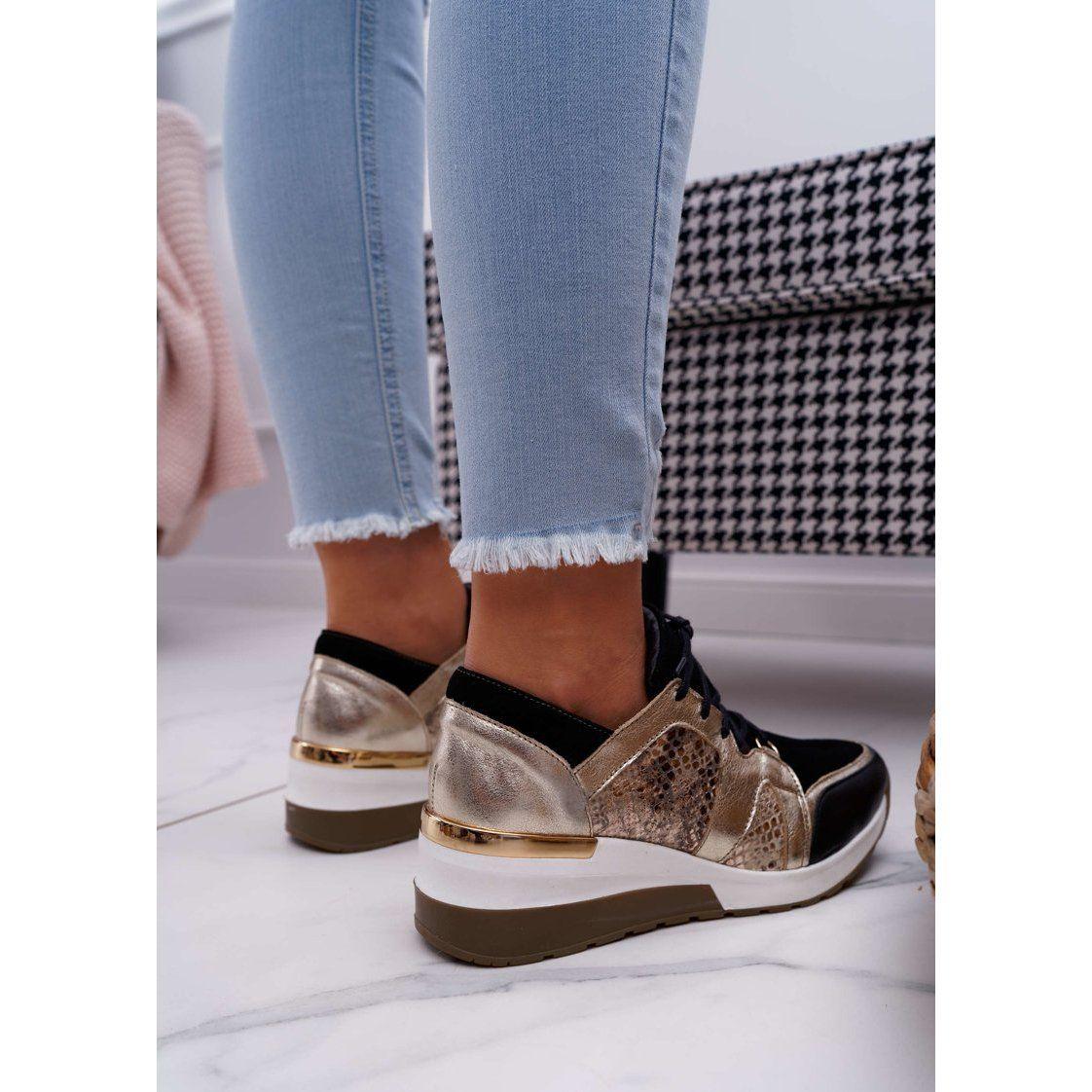 Nicole Sneakersy Damskie Zlote Skora Naturalna Coledo Zloty Shoes Espadrilles Fashion