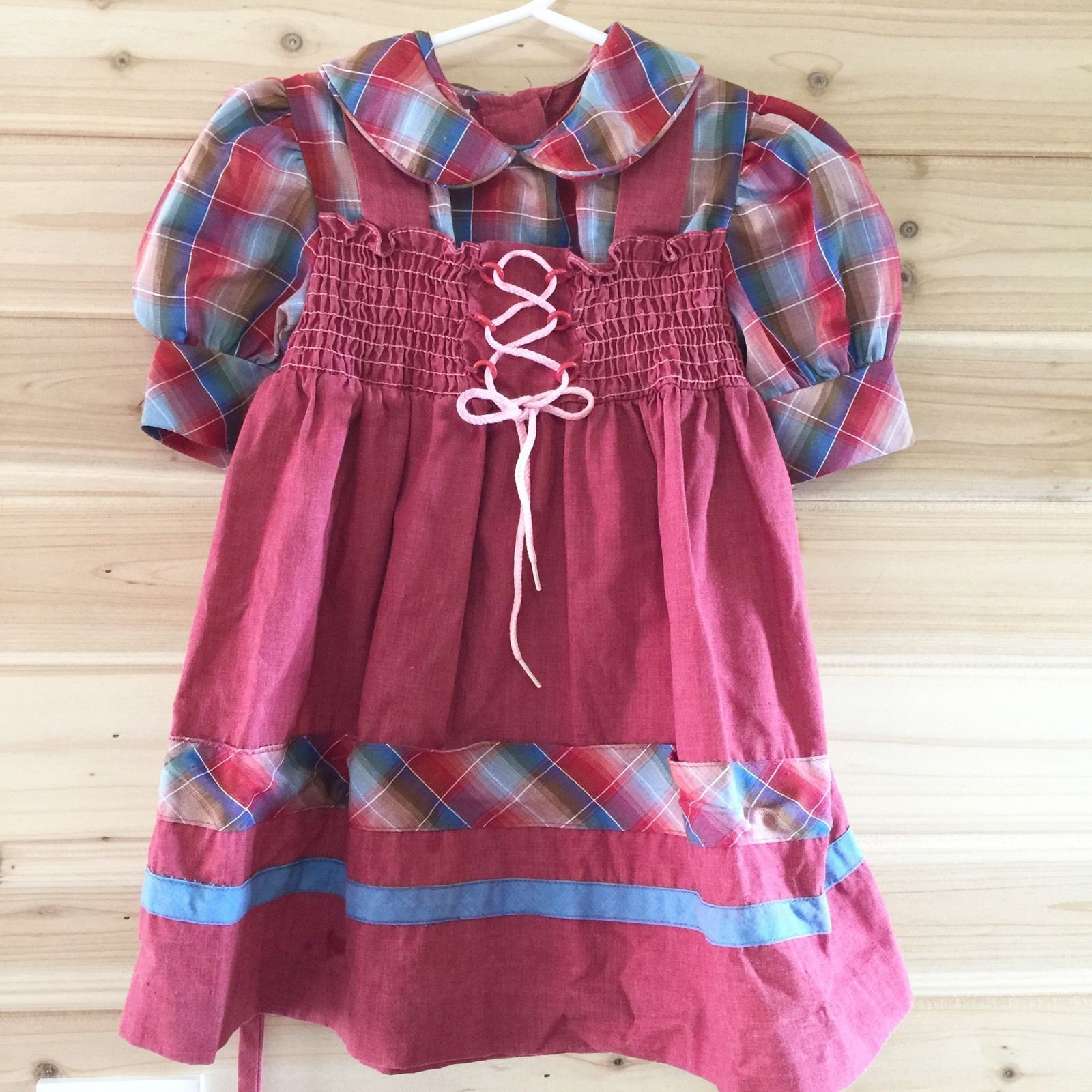 Vintage Jcpenney 3 4 Girls Maroon Plaid Dress Short Sleeve Front Tie B3