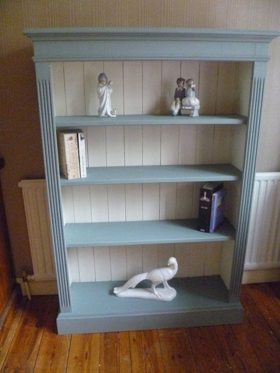 Up Cycled Solid Pine Bookcase In Annie Sloan Duck Egg Original White Chalk Paint