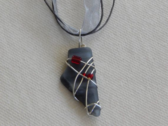 wire wrapped recycled glass pendant. Wire Wrapped Recycled Gray Stained Glass By UniqueChiqueJewelry, $13.00 Pendant C