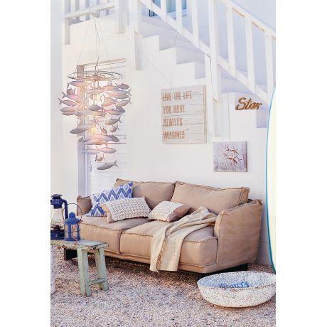 Sofa, 2,5-Sitzer, abnehmbare Husse, Shabby Chic, Leinenbezug ...