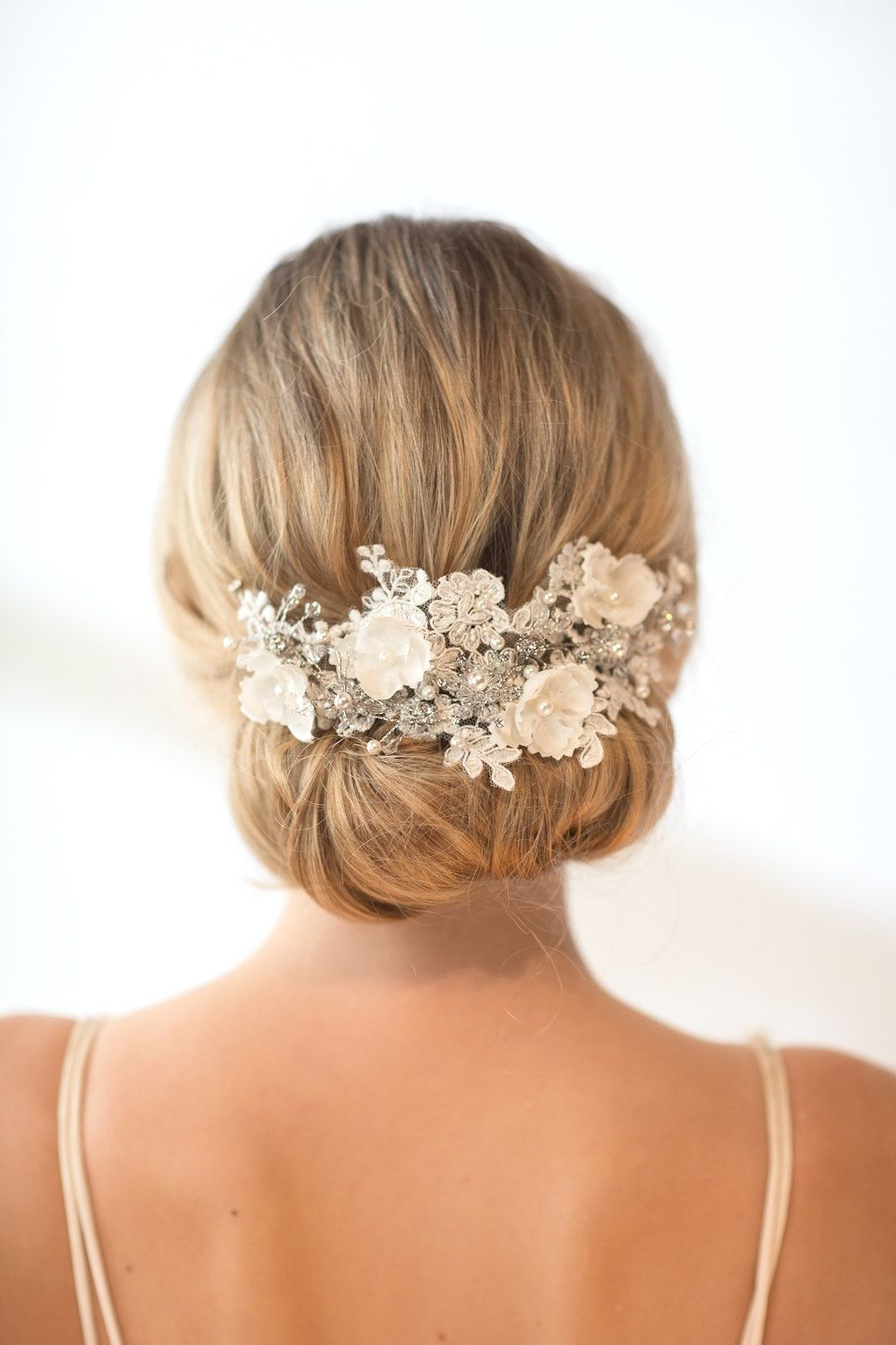 Wedding lace headpiece pearl beaded lace vine wedding headpiece