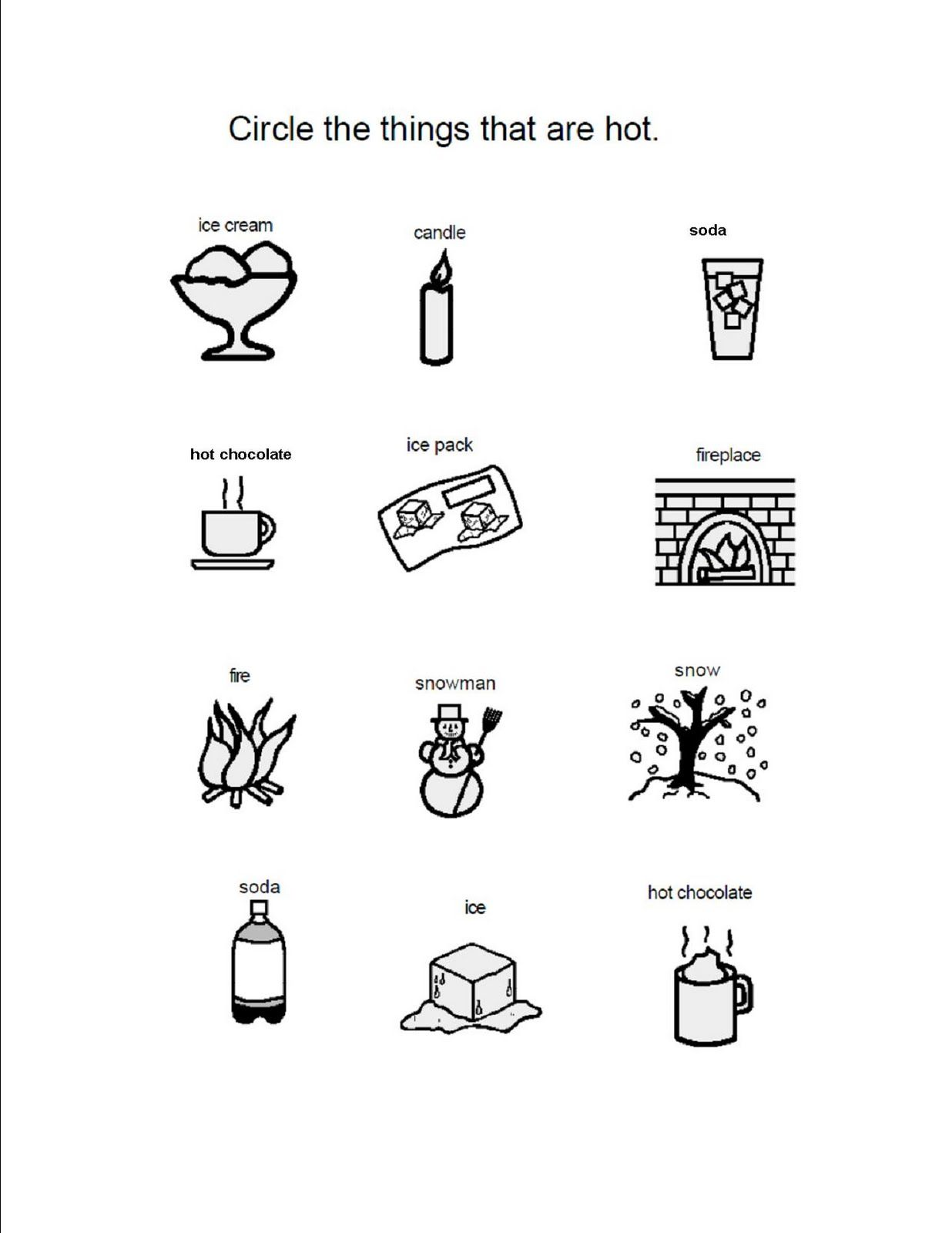 Worksheet Hot And Cold Worksheets For Kindergarten sense of taste activities it a worksheet in which students additional to enrich your childs speech and language learning