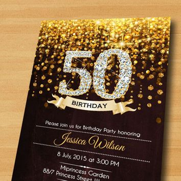 Black Gold Champagne Birthday Party Card | 50 birthday parties