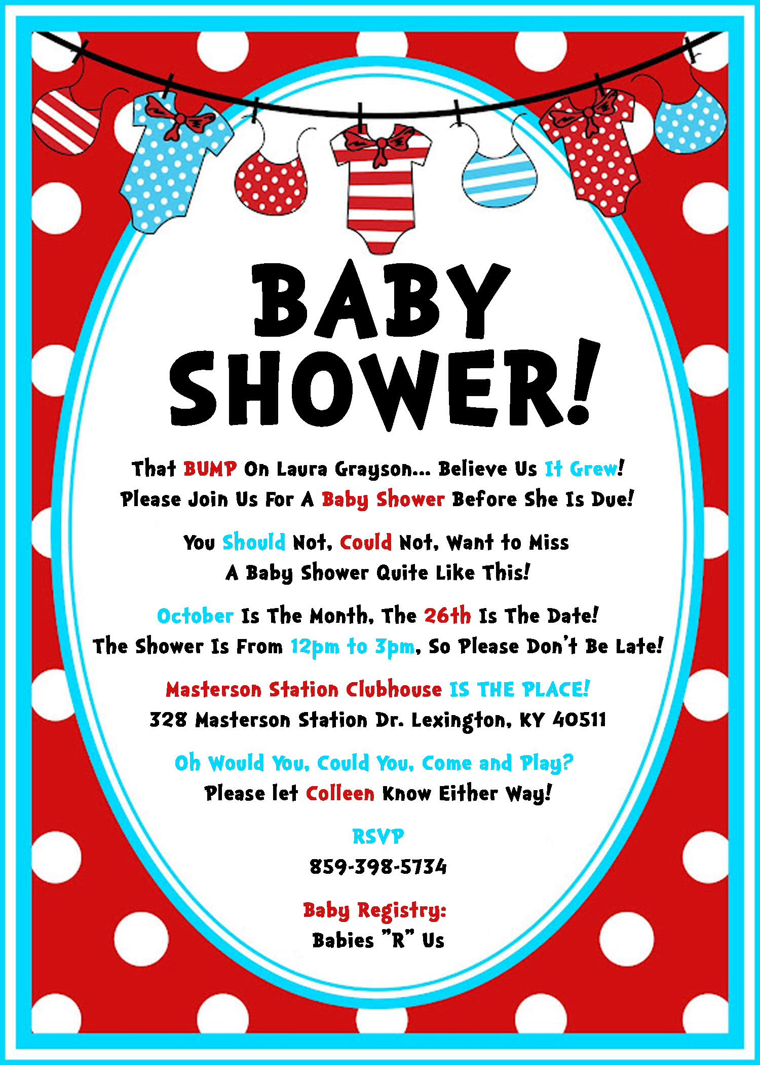 Dr Suess Baby Shower invite