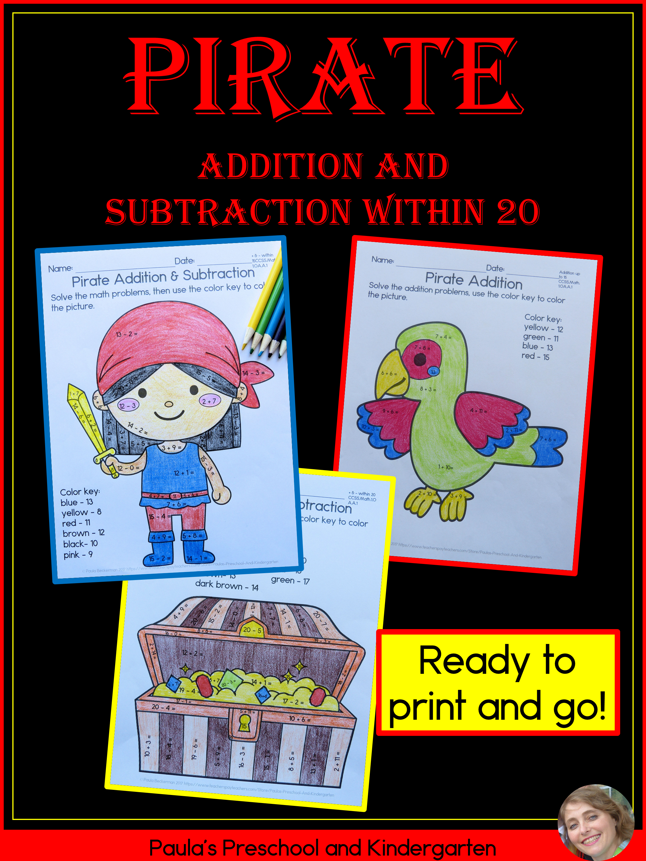 Addition And Subtraction Within 20 Pirate Theme