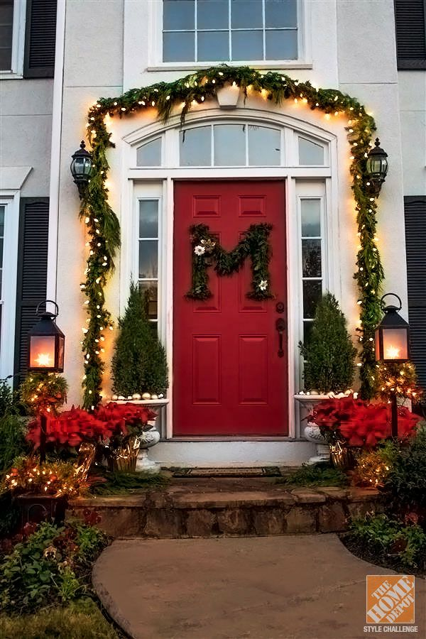 Holiday Door Decorating Ideas For Your Small Porch The Home Depot Christmas Porch Holiday Door Outdoor Christmas