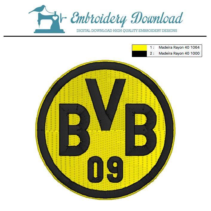 Borussia Dormund Logo Soccer Bundesliga Embroidery Design Stickmaschinenmuster Logo Sticken Maschinenstickerei