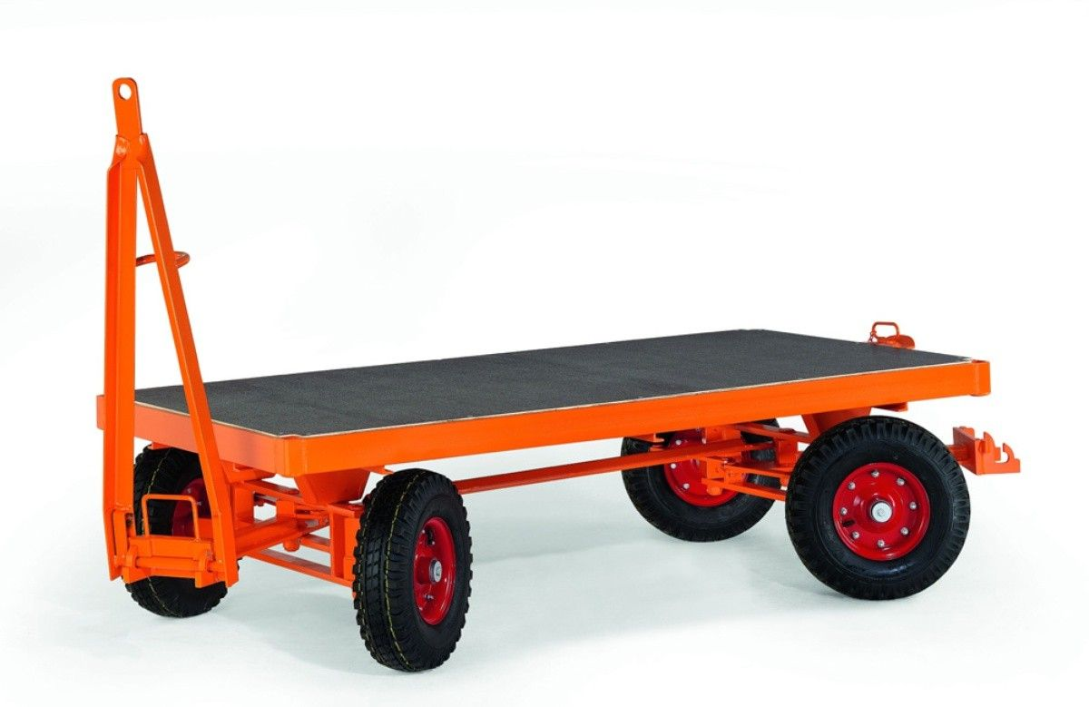 GTARDO.DE:  Schwerlast-Industrie-Anhänger, 4-Rad-Achsschenkel-Lenkung, Tragkraft 2t / 2000 kg, Ladefläche 2000x1000 mm, Vollgummi 2 175,00 €