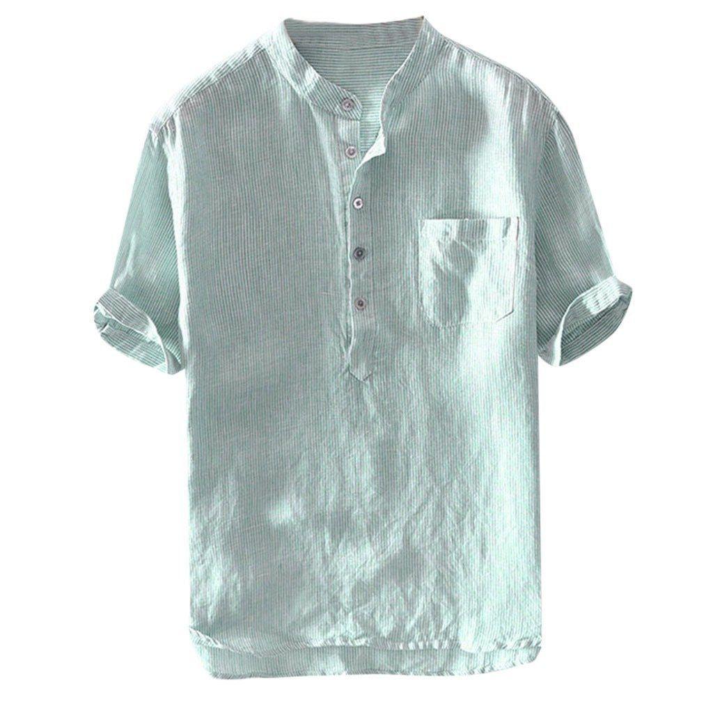 Gocgt Mens Casual Fashion Military Pocket Short Sleeve Loose Blouses Shirt Tops