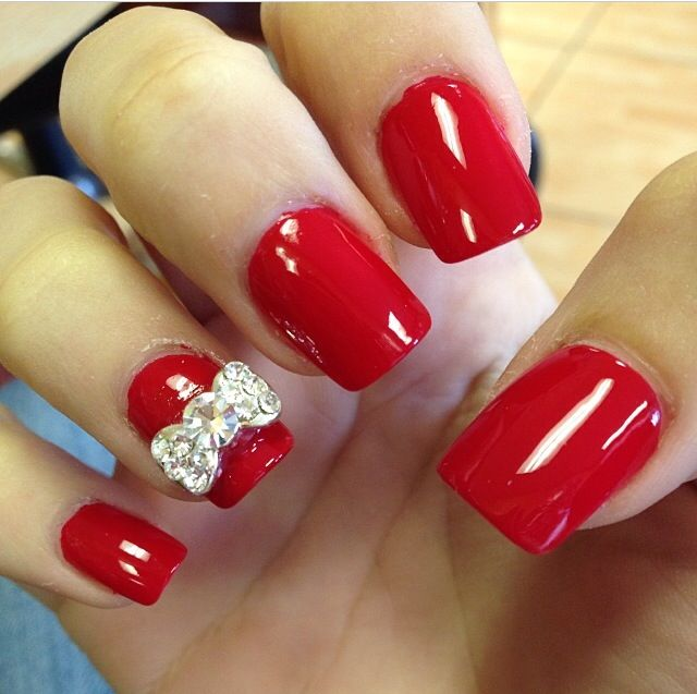 Red Christmas nails with rhinestone bows! Love them! | Nails ...