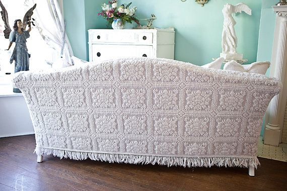 Chenille Couch Slipcovers Shabby Chic Sofa Slipcover Ed Vintage Bedspread Rose