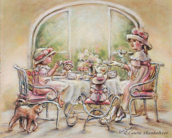"Tea party, girls, Teatime , Big Sister, Little Sister, Dolls, English tea, print, sisters, tea. 8x10.  via Etsy.  ""Teatime With Big Sister"