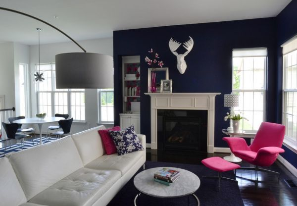 Colors Of Nature Contemporary Interiors With A Dash Of Fuchsia Freshness Blue And White Living Room Pink Living Room Room Colors