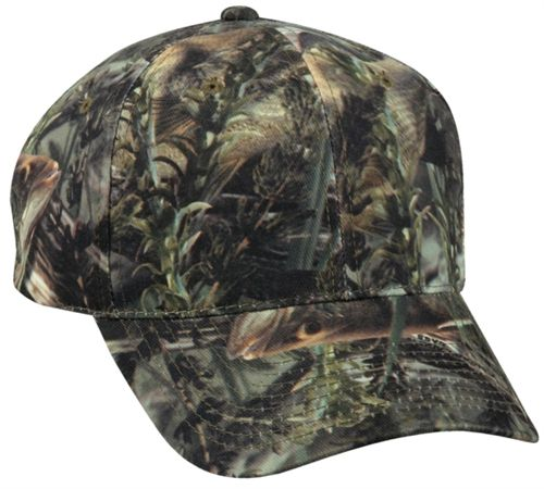 Fishouflage Structured Camo Hat with Branded Backstrap Embroidery Area: · Front: 2 1/4 inches height x 4 to 4 1/2 inches wide · Back: 1 1/2 inches height x 3 inches wide http://www.capstoyou.com/Fishouflage-Structured-Camo-Hat-with-Branded-Backs-p/fof-100.htm