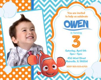 Finding Nemo Birthday Party Invitation by PrettyPaperPixels