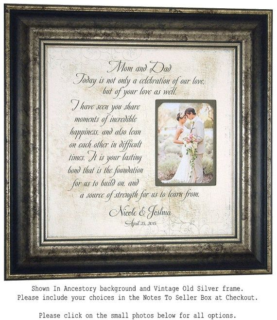 Parents Wedding Gift, Personalized Picture Frame, Wedding