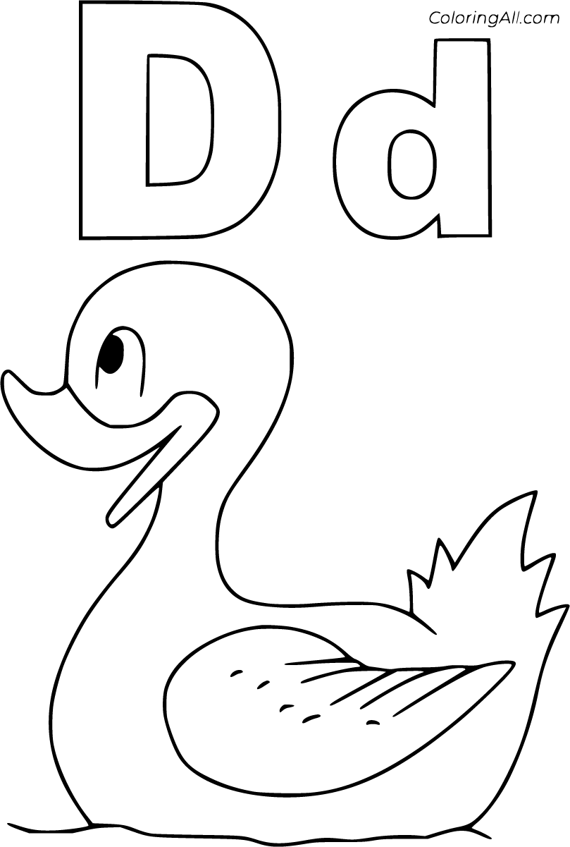 24 free printable Letter D coloring pages in vector format, easy