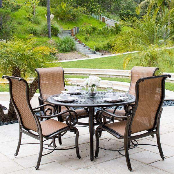 La Costa 5 Piece Dining Set Outdoor Lounge Area Aluminum Patio Furniture Outdoor Bbq Grill
