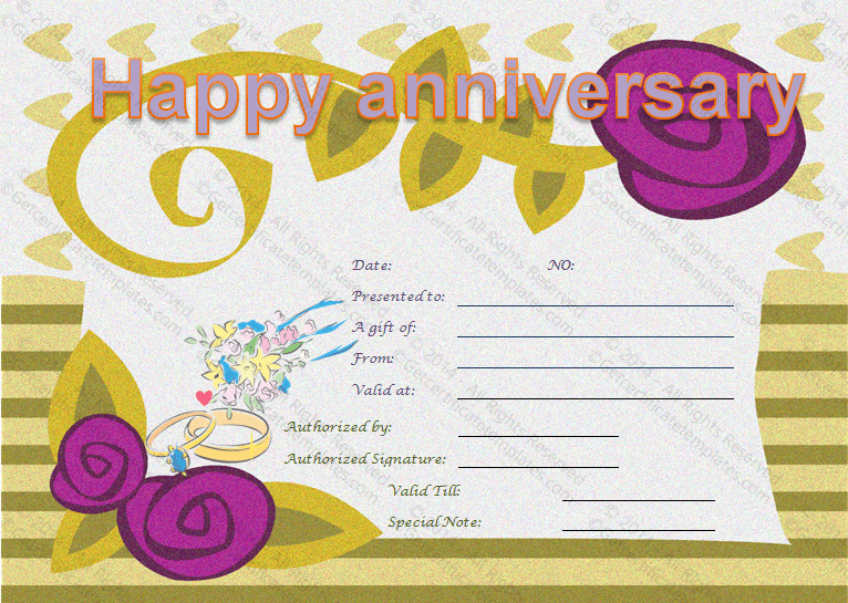 Happy Anniversary Gift Certificate Template Happy Anniversary Gifts Gift Certificate Template Printable Gift Certificate