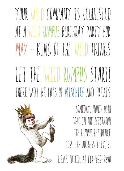Where the Wild Things Are birthday invitations 15 for digital file
