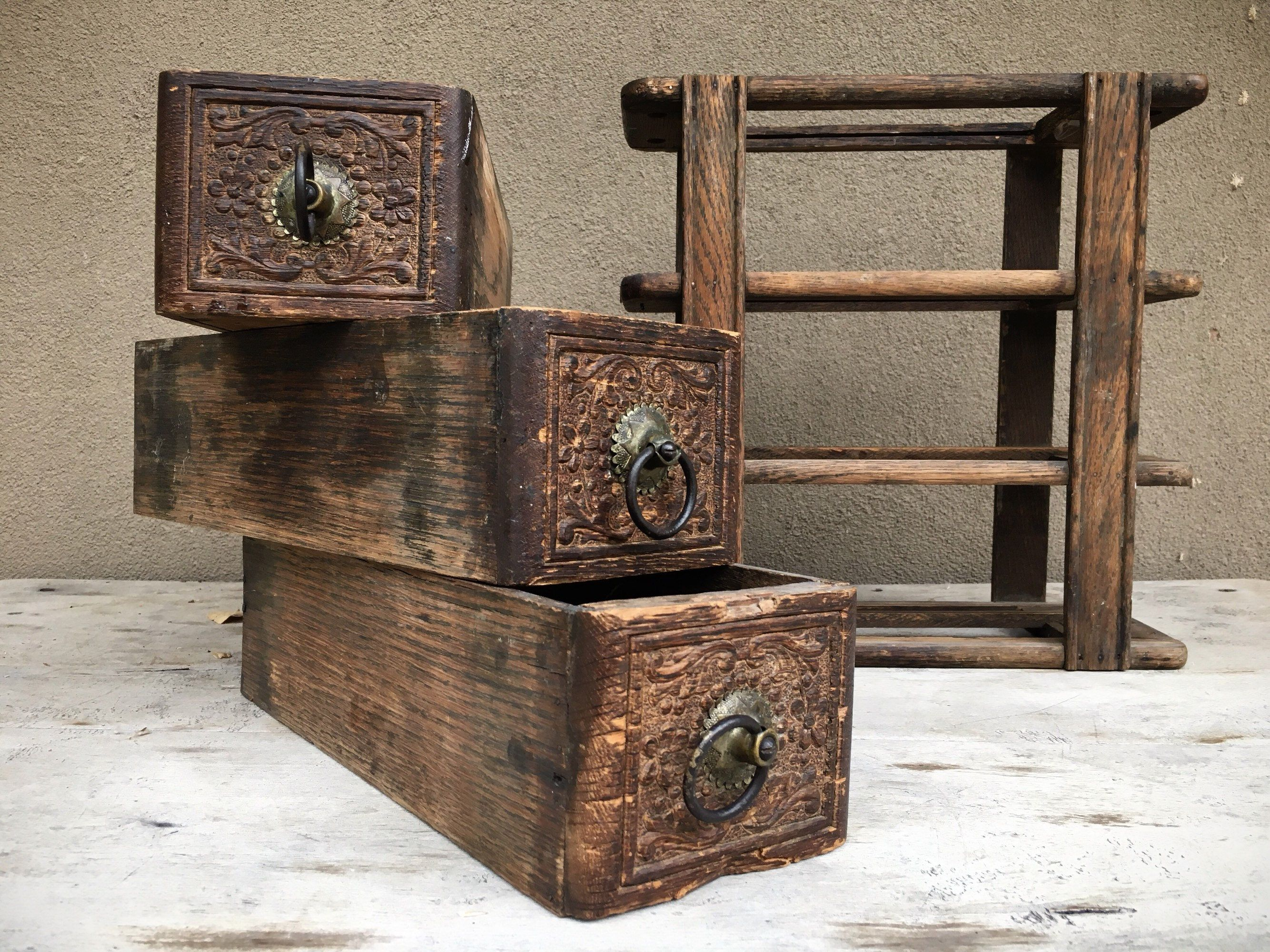 Old Rustic Sewing Machine Wood Drawers In Frame, Rustic Home