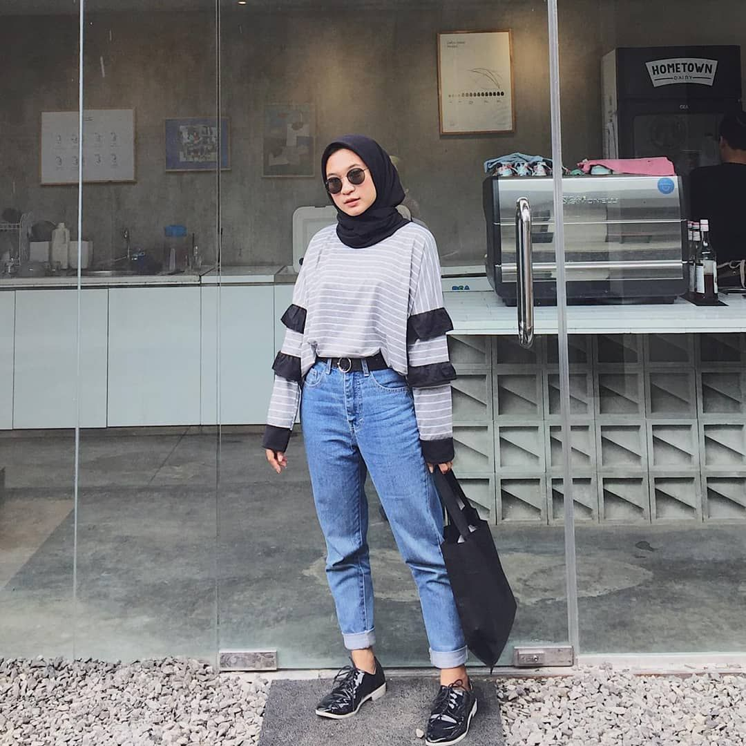 Today With Top From Beabow Id Hijab Casual Hijab Fashion Inspiration Style Hijab Casual
