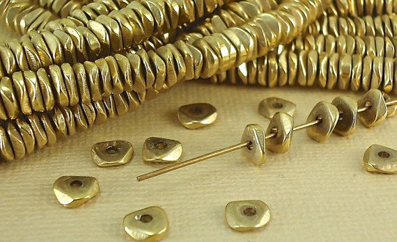 40 Solid Brass Spacer Wavy Faceted Beads 6mm Heishi Chip