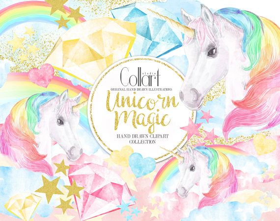 Unicorn Clipart, Rainbow Clipart Watercolor Illustrations • • • NO PHYSICAL PRODUCT WILL BE SHIPPED • • • One of a kind hand drawn clipart set you can use for creating your own art, posters, invitations, planner stickers, cards, tags and more. The cliparts are hand drawn and painted