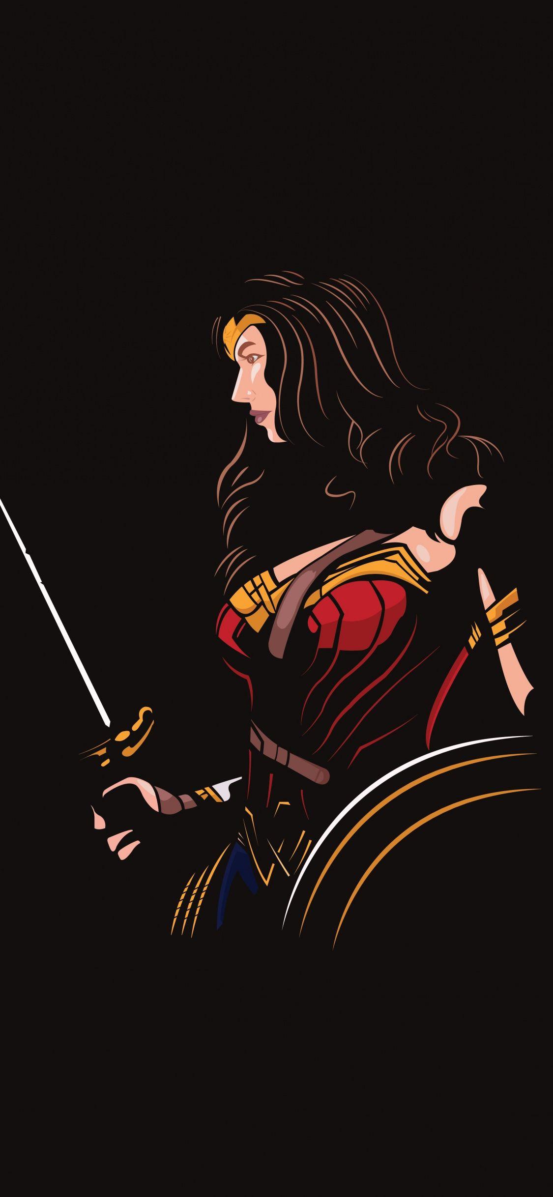 Wonder Woman Minimal Dc Comics Superhero Art 1125x2436