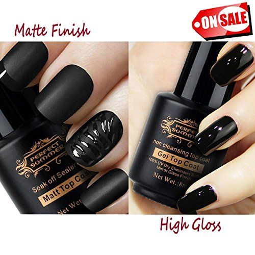 Perfect Summer Pro Clear Matte Finish Top Coat High Gloss Shiny Dual Sets