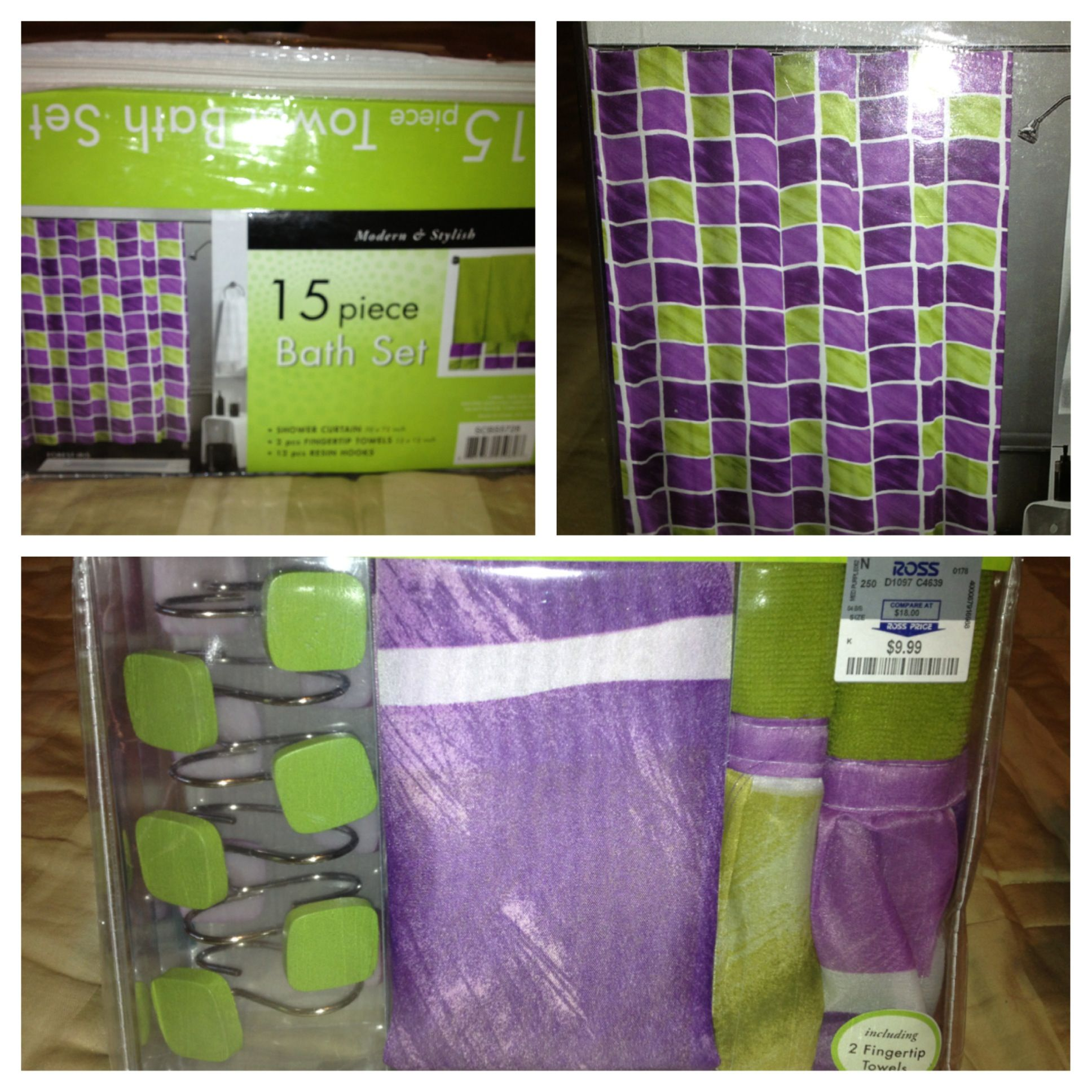 I have also officially found a shower curtain! Purple and green ...