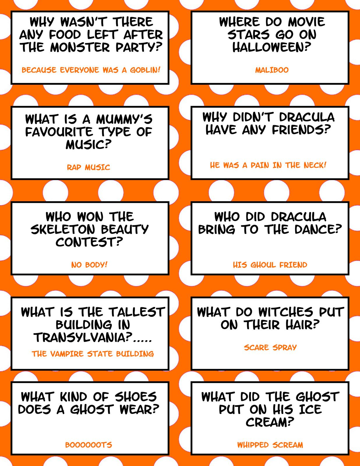 Free Printable Halloween Jokes For Kids